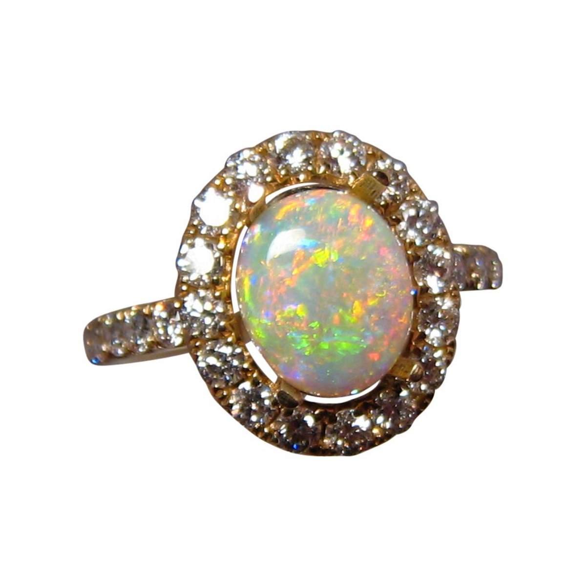 Oval Crystal Opal Ring Diamonds 14k Gold Opal Rings