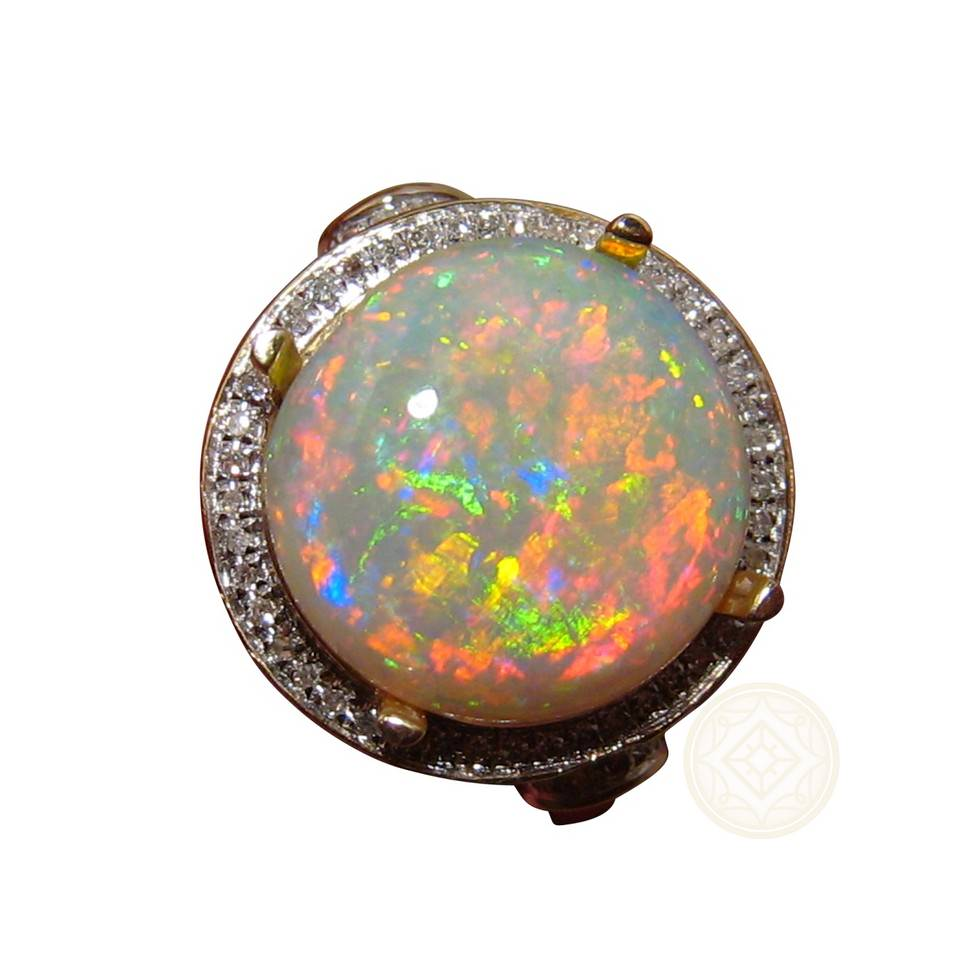 Round Opal Gold Ring with Diamonds Halo Design  FlashOpal