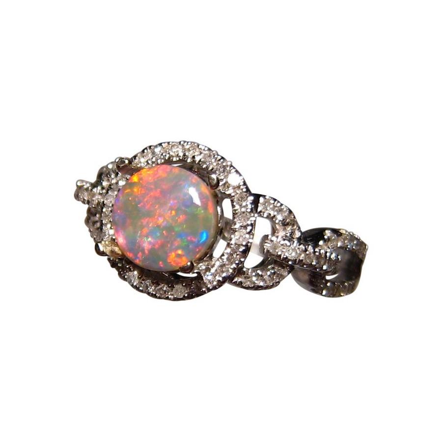 Round Red Opal Ring Diamonds Gold Opal Diamond Rings