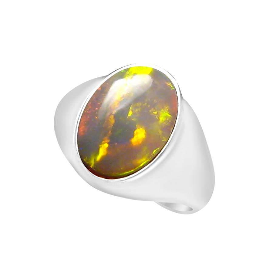 Large Opal Ring for Men 4 Carat Green Blue Oval  FlashOpal