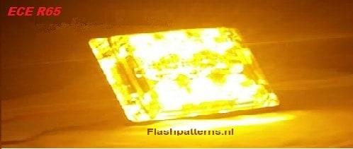 SSLT6D Super dun led flitser 6 X 3 WATT hoog intensiteit leds ECER65 Amber of Blauw 12 24V aan nr2 aan