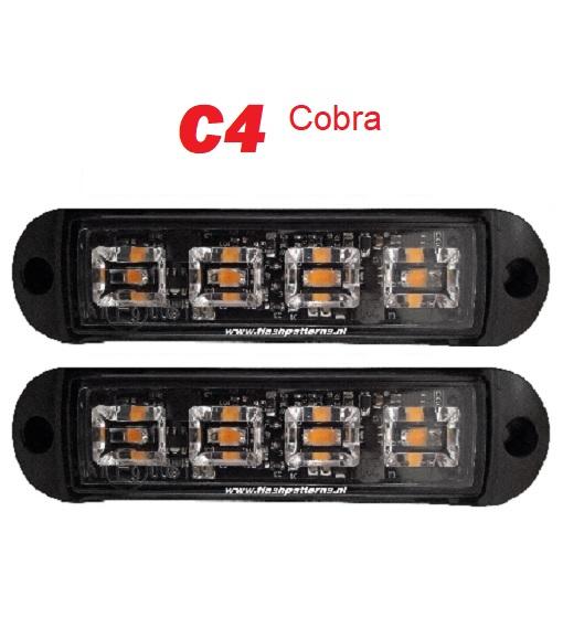 Cobra 4 Amber ECER65 led flitser category pic flashpatterns nederland 2 stuks