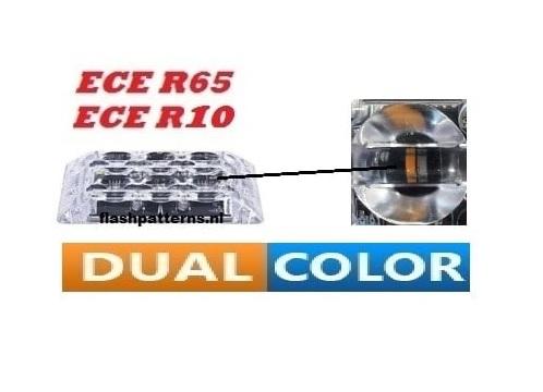 SSLT6D Super dun led flitser Dual Colour 2 X 6 X 3 WATT ECER65 Amber Blauw 12 24V