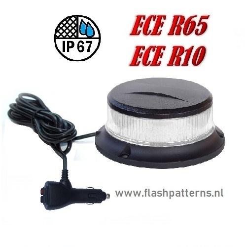 ZL5-C 27watt Compact Led Zwaailamp amber led blank lens magneet montage recht kabel ECER10 ECER65 flashpatterns.nl