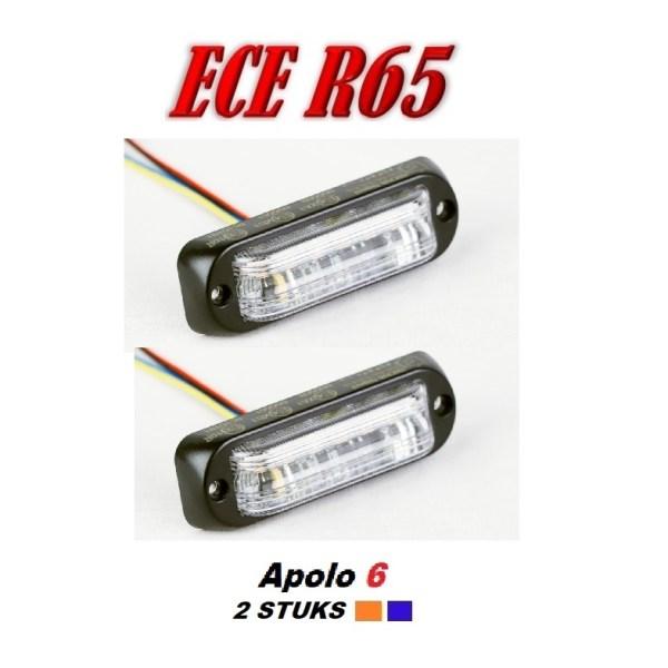 Apolo 6 LED Flitser ECER65 12/24V 2 stuks Super Aanbieding !! voordeel set.
