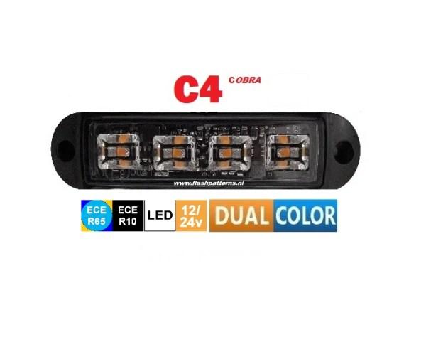 Cobra 4 Dual Color amber blauw ECER65 led flitser EXTREEMLEDTECH