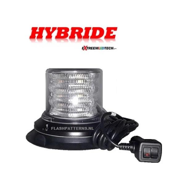 HYBRIDE LED ZWAAILAMP ECE-R65 KLASSE 2 12-24V WITH CLEAR LENS flashpatterns nederland extreemledtech