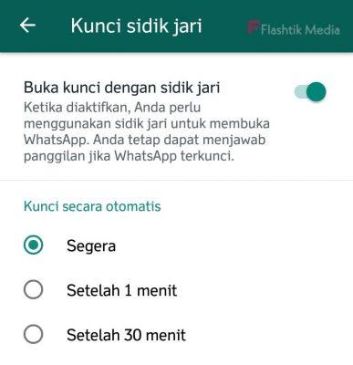 aktifkan sidik jari di whatsapp android