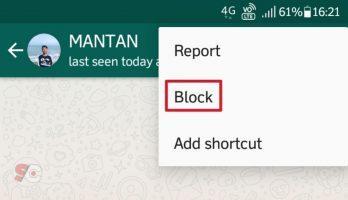 Blokir kontak whatsapp
