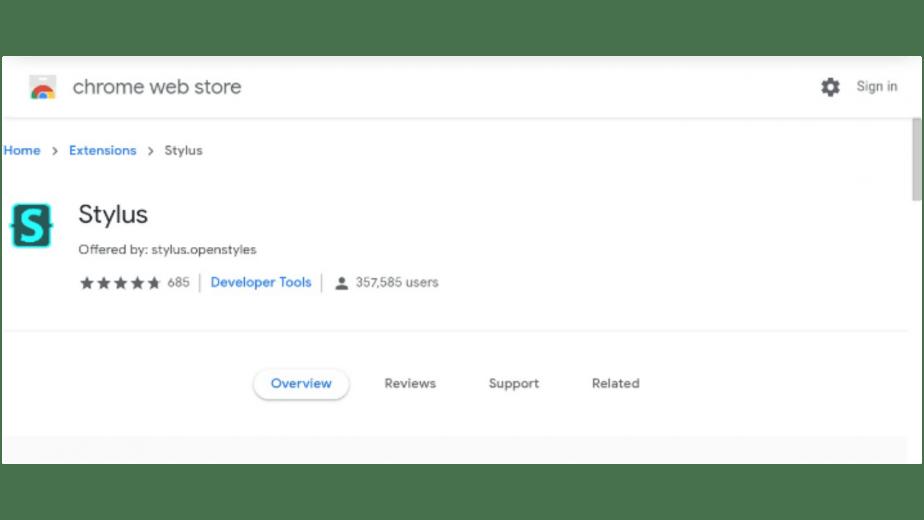 Extensi Stylus Google Chrome
