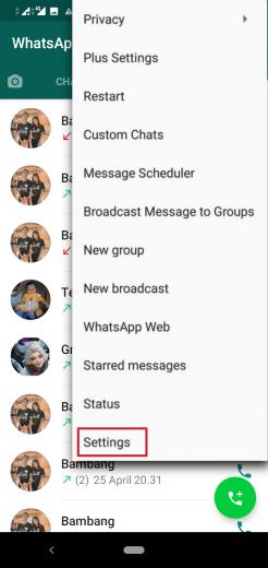 Mematikan panggilan whatsapp