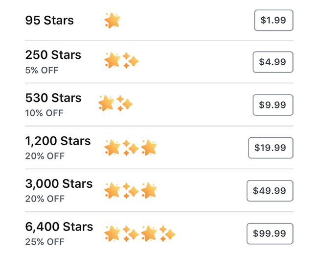 Pembayaran facebook stars