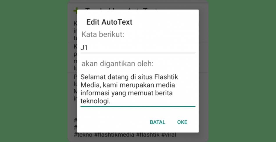 Auto text smartkeyboard