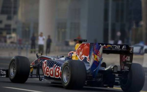 red bull f1 on dubai public road