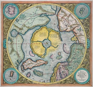 Antique Map Mercator Arctic