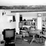 black and white photo of modern furniture in sitting room at Valley Farm - including a television