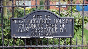 All that remains of East Bergholt House today - a sign stating it as the birthplace of John Constable