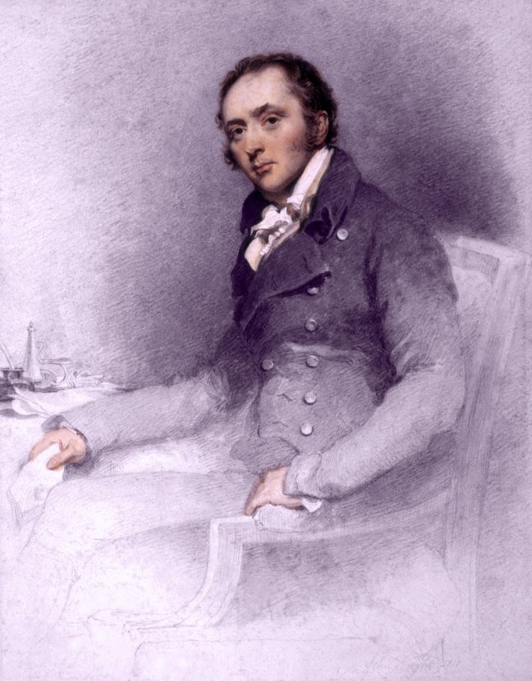 Pen and ink drawing of John Constable aged 35 by John Wright 1811