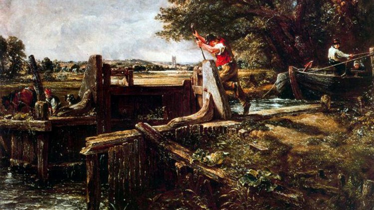 Detail from a painting by John Constable called Boat Passing a Lock 1824