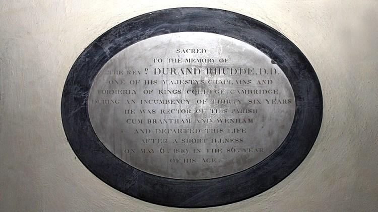 Memorial to Rev Rhudde - East Bergholt Church