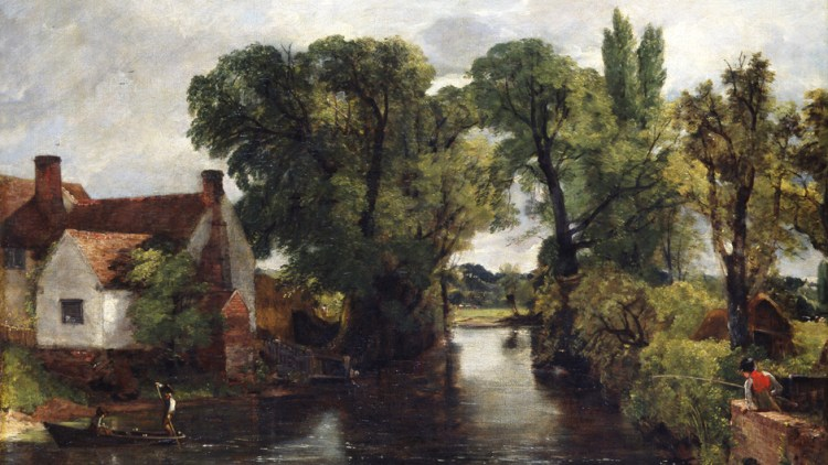 Oil painting of The Mill Stream by John Constable 1814-15 - Ipswich and Colchester Museum Service