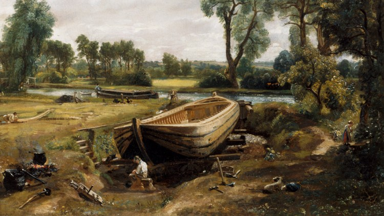 Oil Painting called Boat Building 1814 by John Constabl