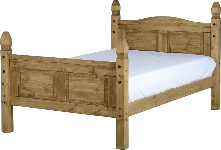 Corona Three Quarter Bed Finished In Distressed Waxed Pine