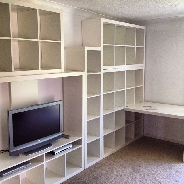 Great use of #ikea #expedit units for this multi media storage. This was mostly for #vinyl #records!