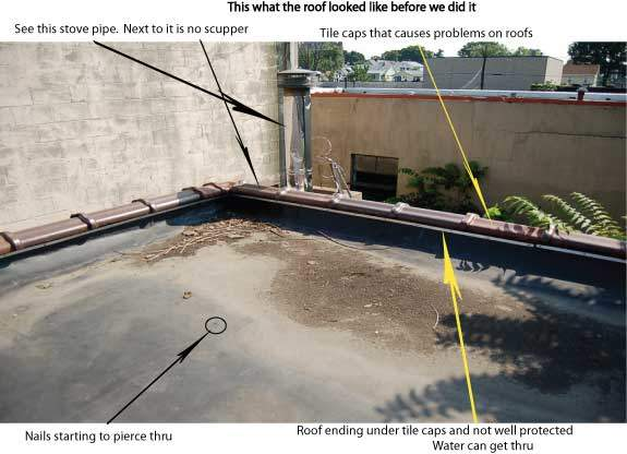 Flat Roof Skirt : Scupper roof aa brite painting white cool coating