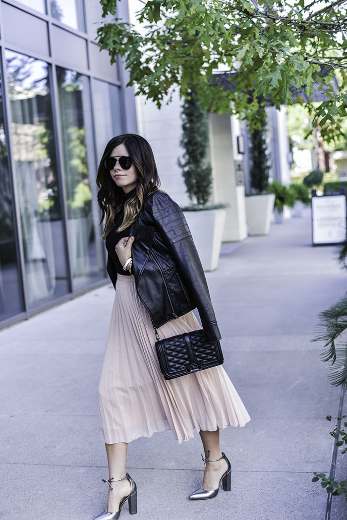Contact me | Lifestyle blogger Tiffany Jais wearing a pleated skirt with a leather jacket from Nordstrom