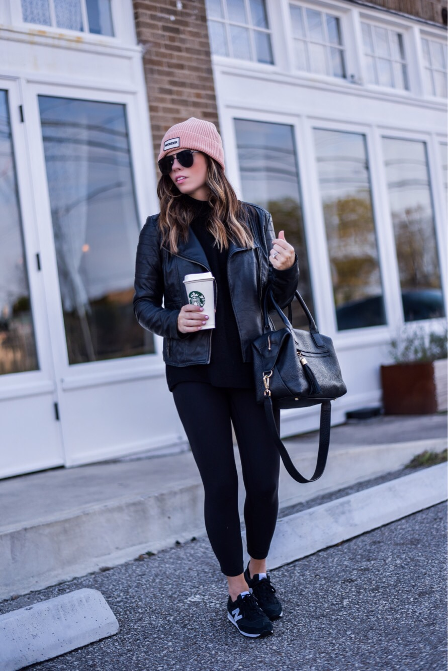 Houston Fashion blogger Tiffany Jais wearing a leather jacket from nordstrom and a top shop beanie