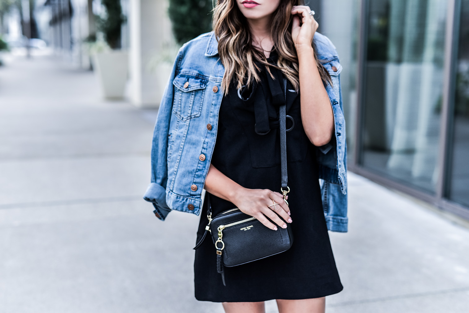 Love this black lace up front dress by English Factory! Spring is almost here so I'm adding light layers into my wardrobe | Fashion blogger, Henri Bendel bag, lace up sandals, women's outfit ideas, outfit ideas for school