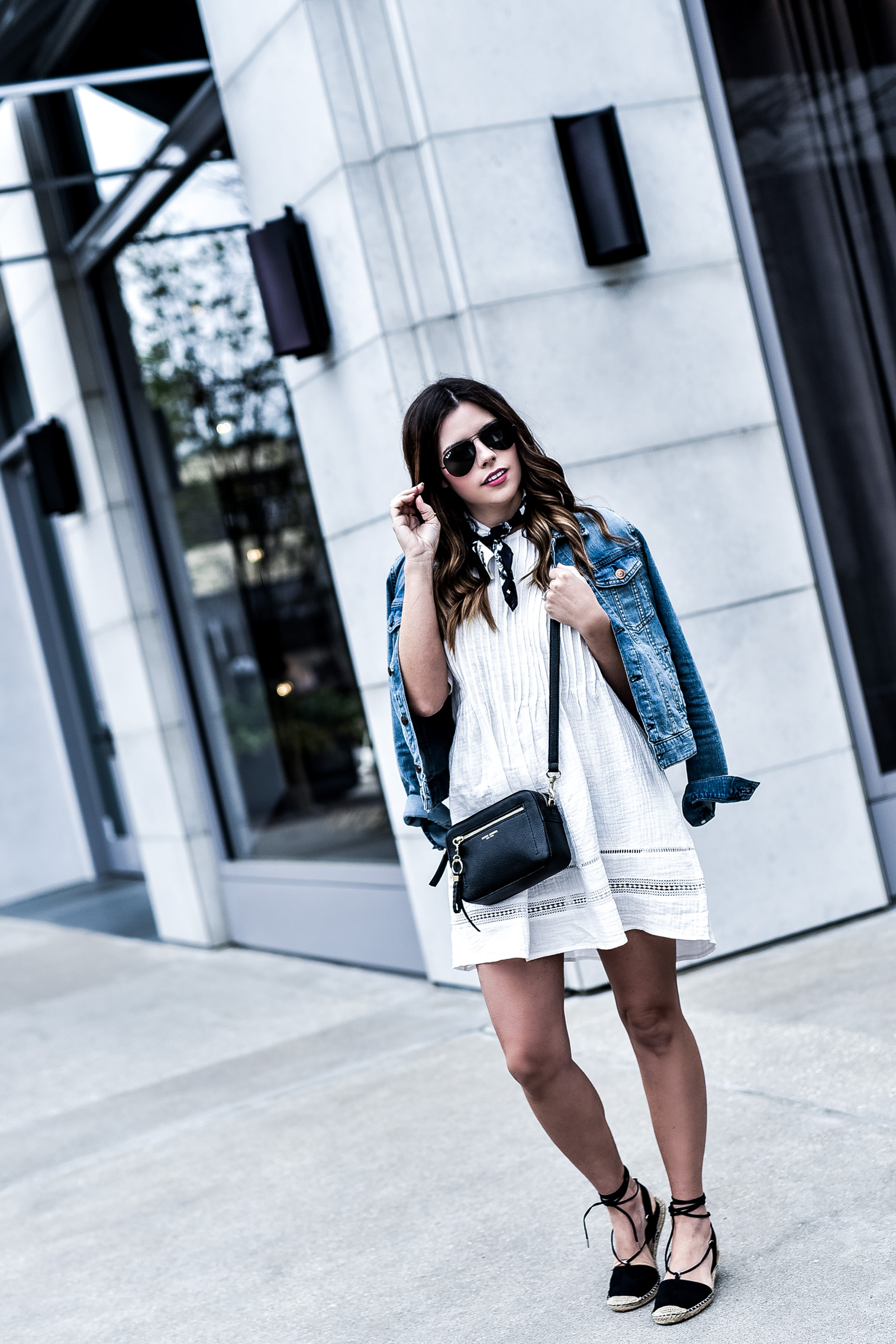 Houston fashion blogger wearing a little white dress by knot sisters and a black pair of espadrilles, currently on sale! Just click to shop the look! | outfit ideas for spring, outfit ideas for summer, whats trending in women's fashion