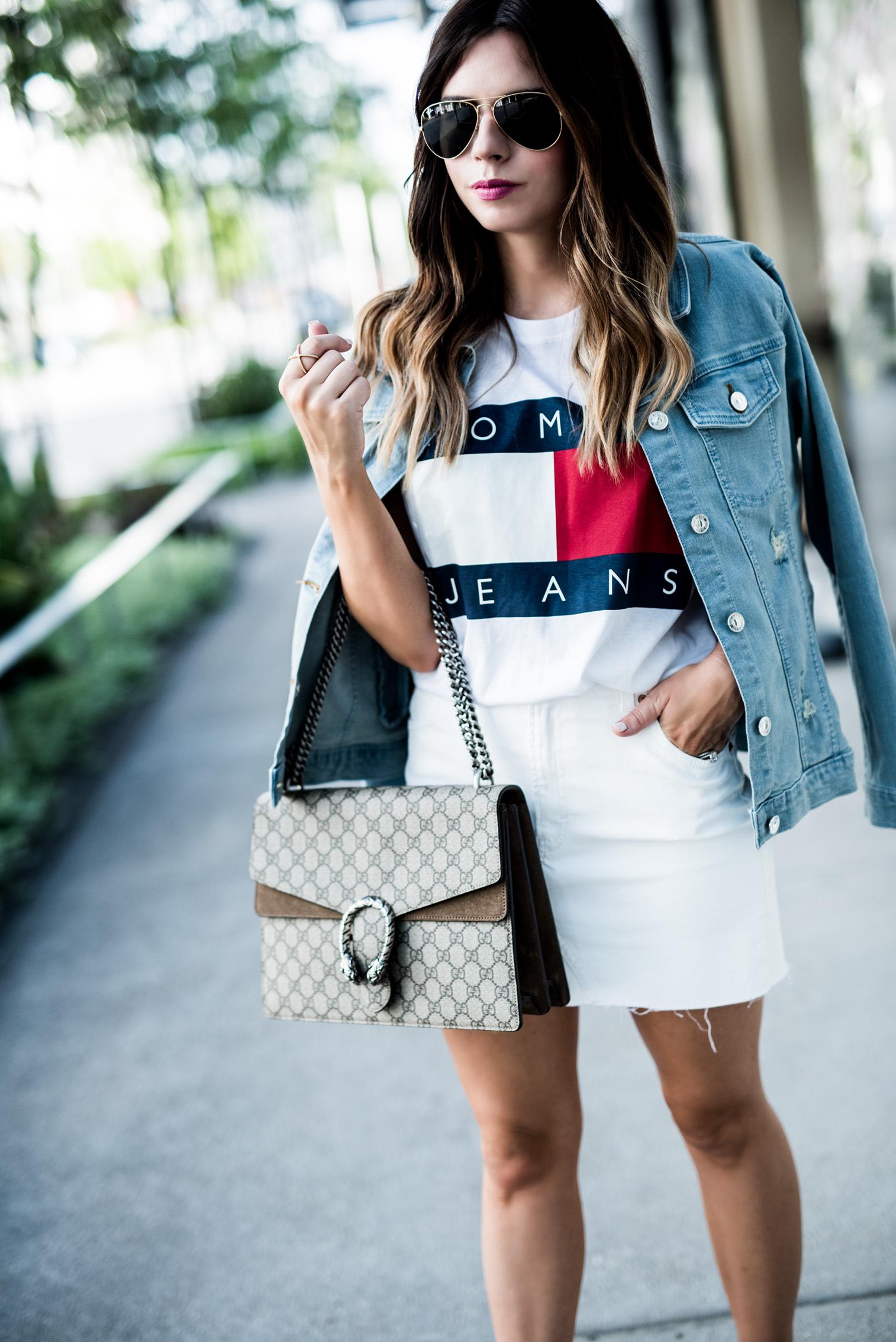 Houston fashion blogger Tiffany Jais | 90's Vibes - Tommy Hilfiger, classic logo tee, denim jacket outfits, streetstyle 2017