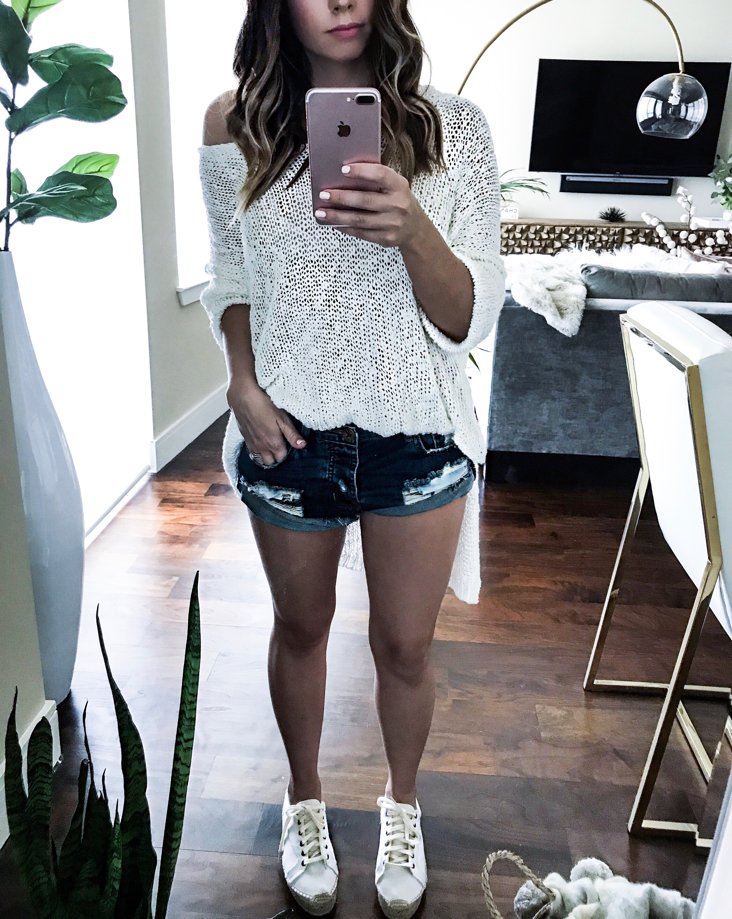 Houston fashion and lifestyle blogger Tiffany Jais | Soludos platform tennis sneaker, off the shoulder f knit, click for more details | summer outfit ideas 2017