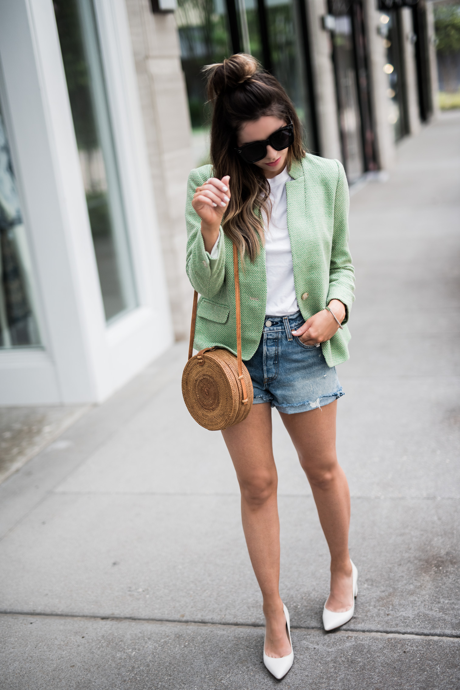 Tiffany Jais Houston fashion and lifestyle blogger | How to wear your work blazer on the weekends | Denim cutoffs, Zala pumps, summer outfit ideas