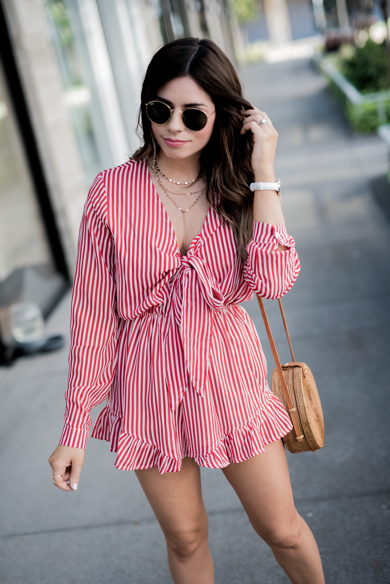 Tiffany Jais Houston fashion and lifestyle blogger | Striped romper, daniel wellington, white watch, brown slides, casual summer outfits