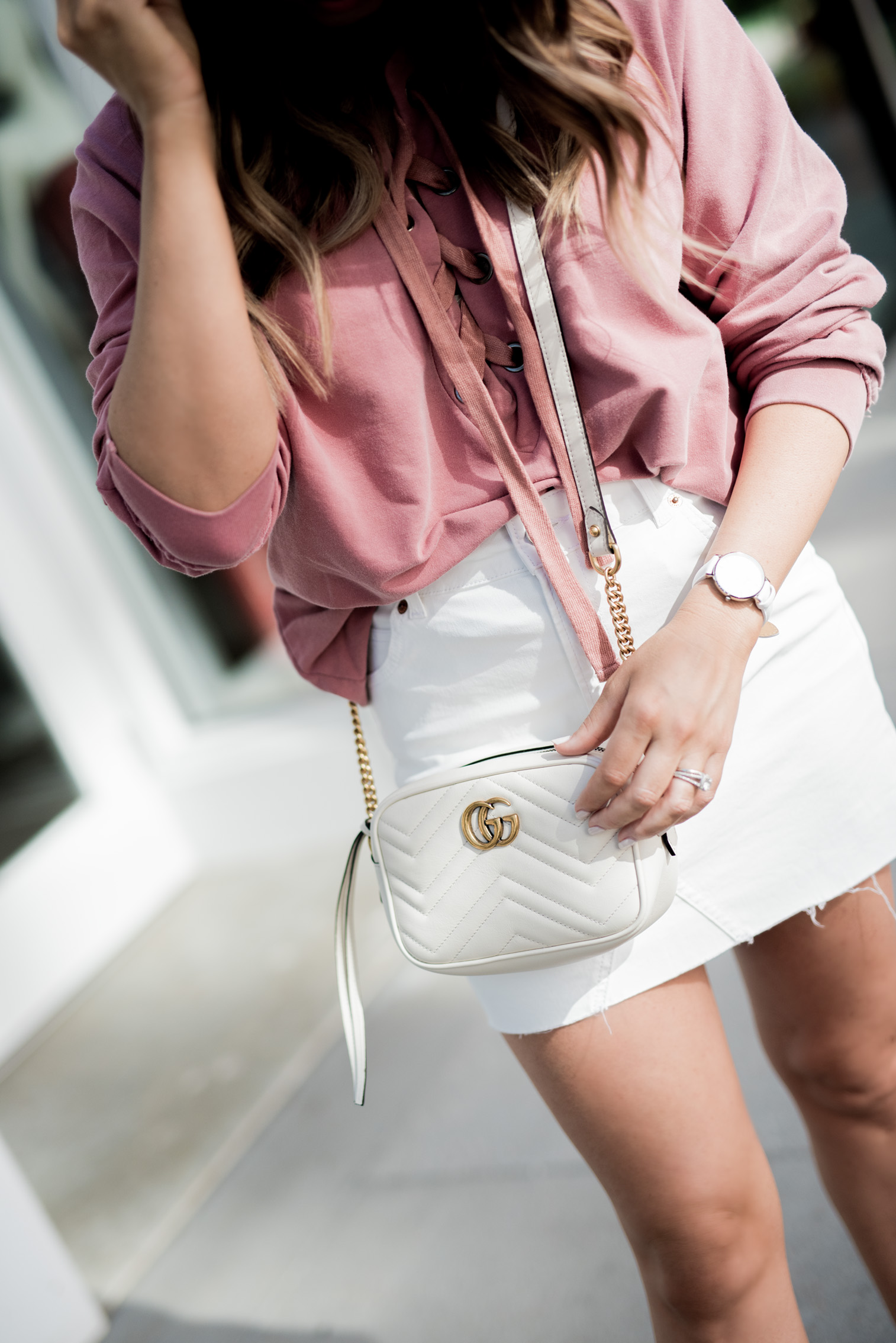 Tiffany Jais Houston fashion and lifestyle blogger | Currently trending- white accessories, white gucci marmot bag, white zala pumps, lace up top, casual outfit ideas, street style