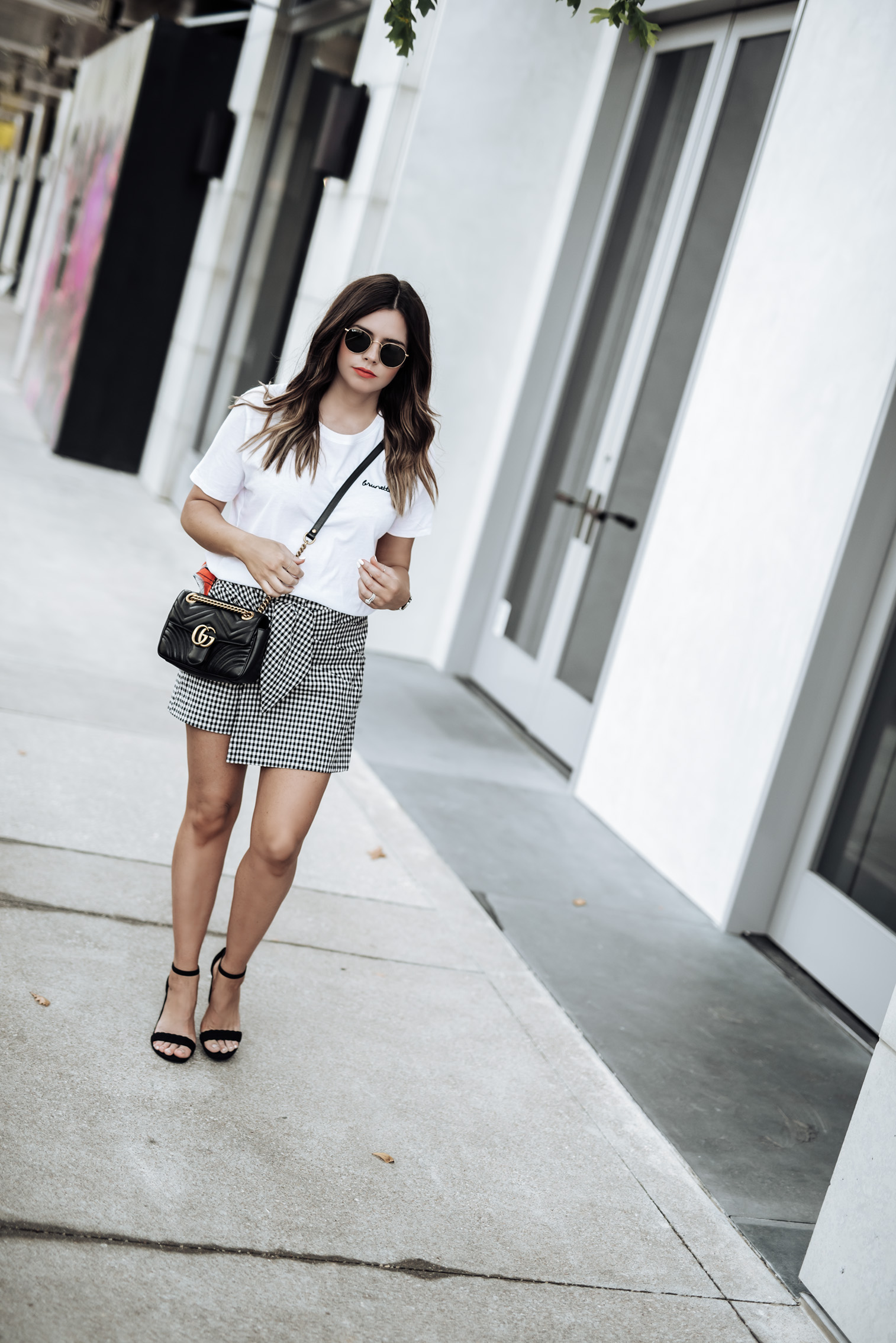 Tiffany Jais Houston fashion and lifestyle blogger | Gingham on repeat | Gingam outfit ideas, gucci marmot, street style outfit summer