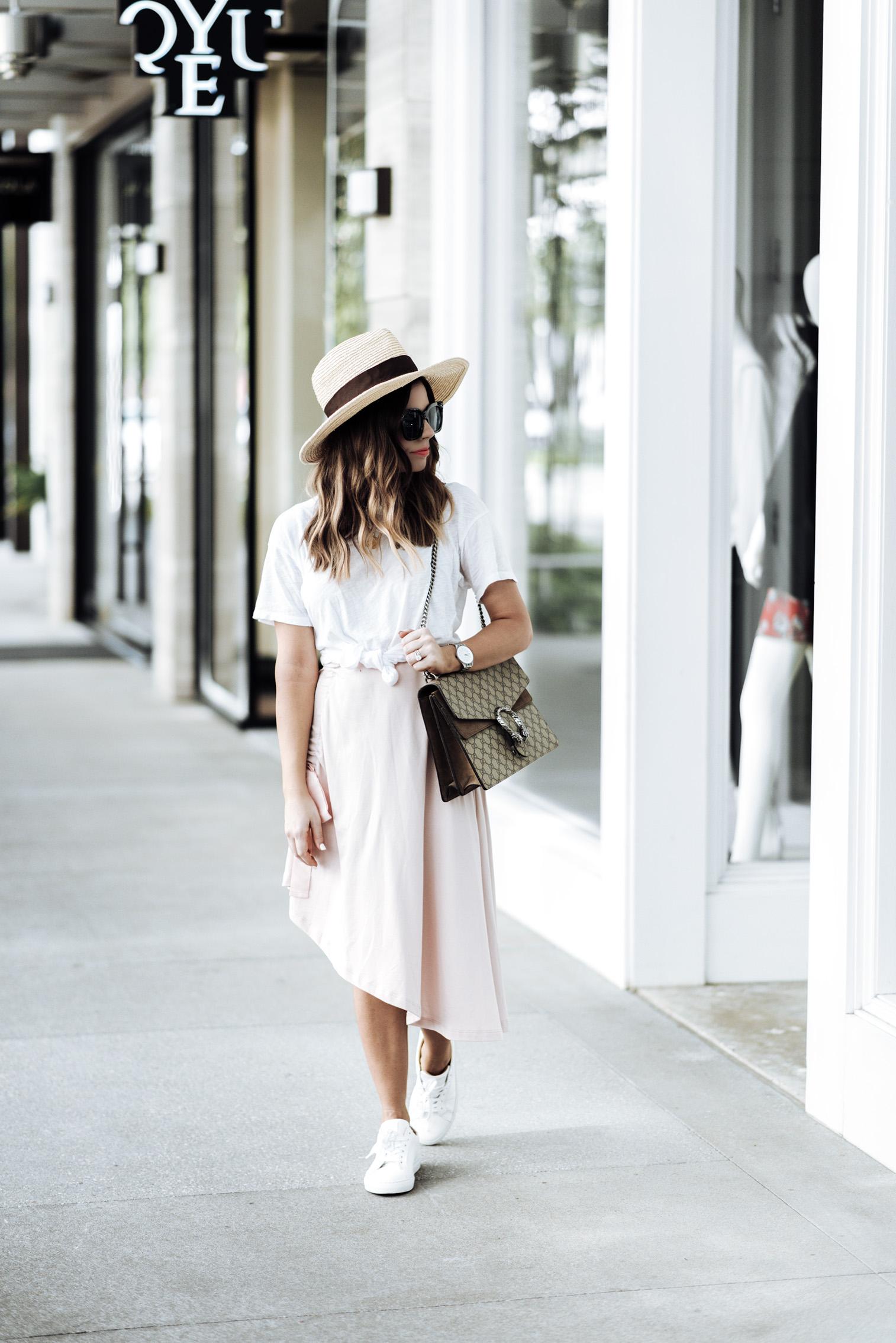 Tiffany Jais Houston fashion and lifestyle blogger | ASOS pink skirt | Cotton crew neck tee | {C/O} Greats sneakers | Gucci Dionysus Bag | Brixton Willow hat | {C/O} Mini Marie Pendant |Streetsyle blogger