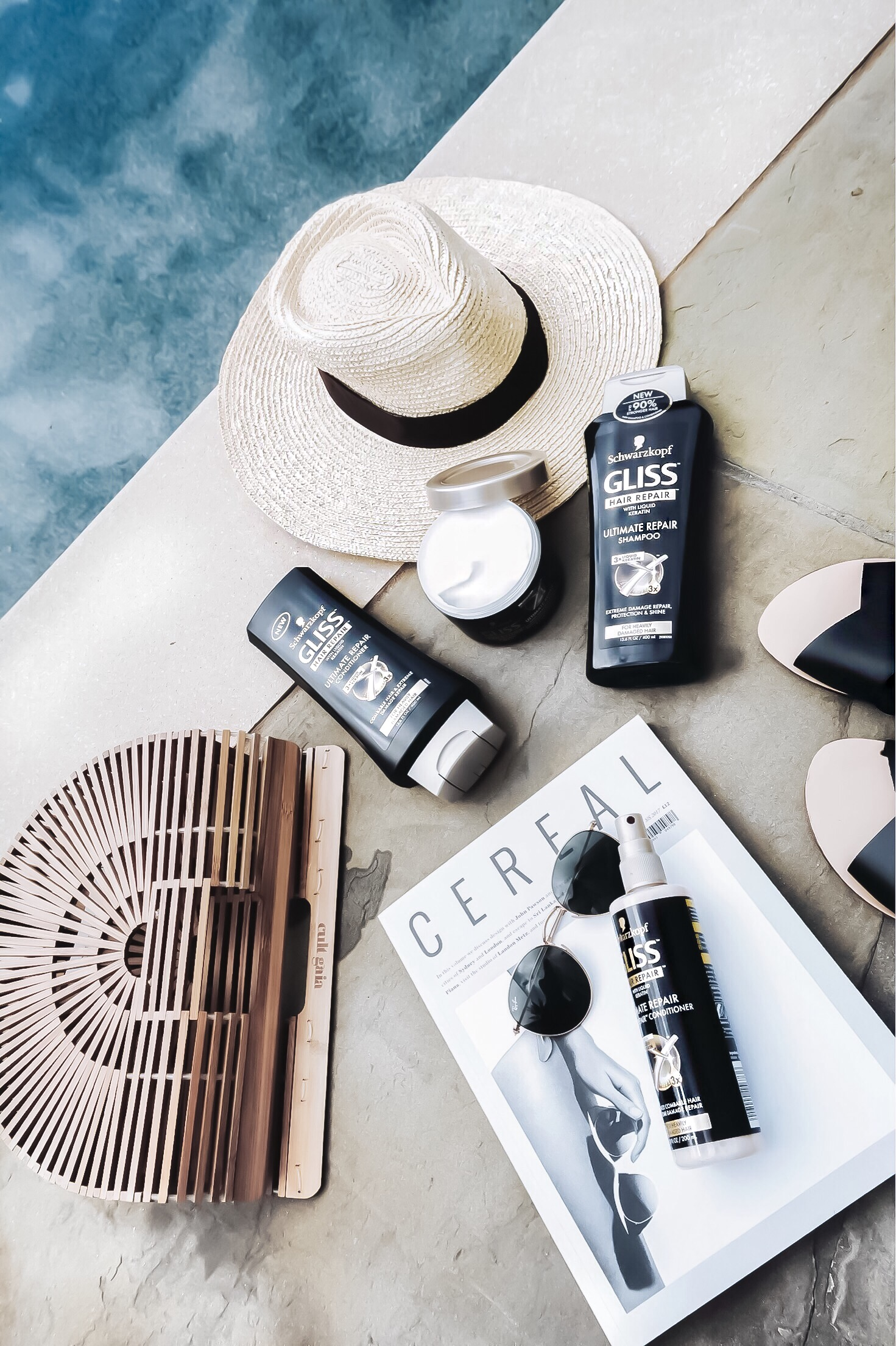 Flaunt and Center fashion blog | Summer hair care with Gliss by Schwarzkopf | flatlay, beauty blogger, summer vibes