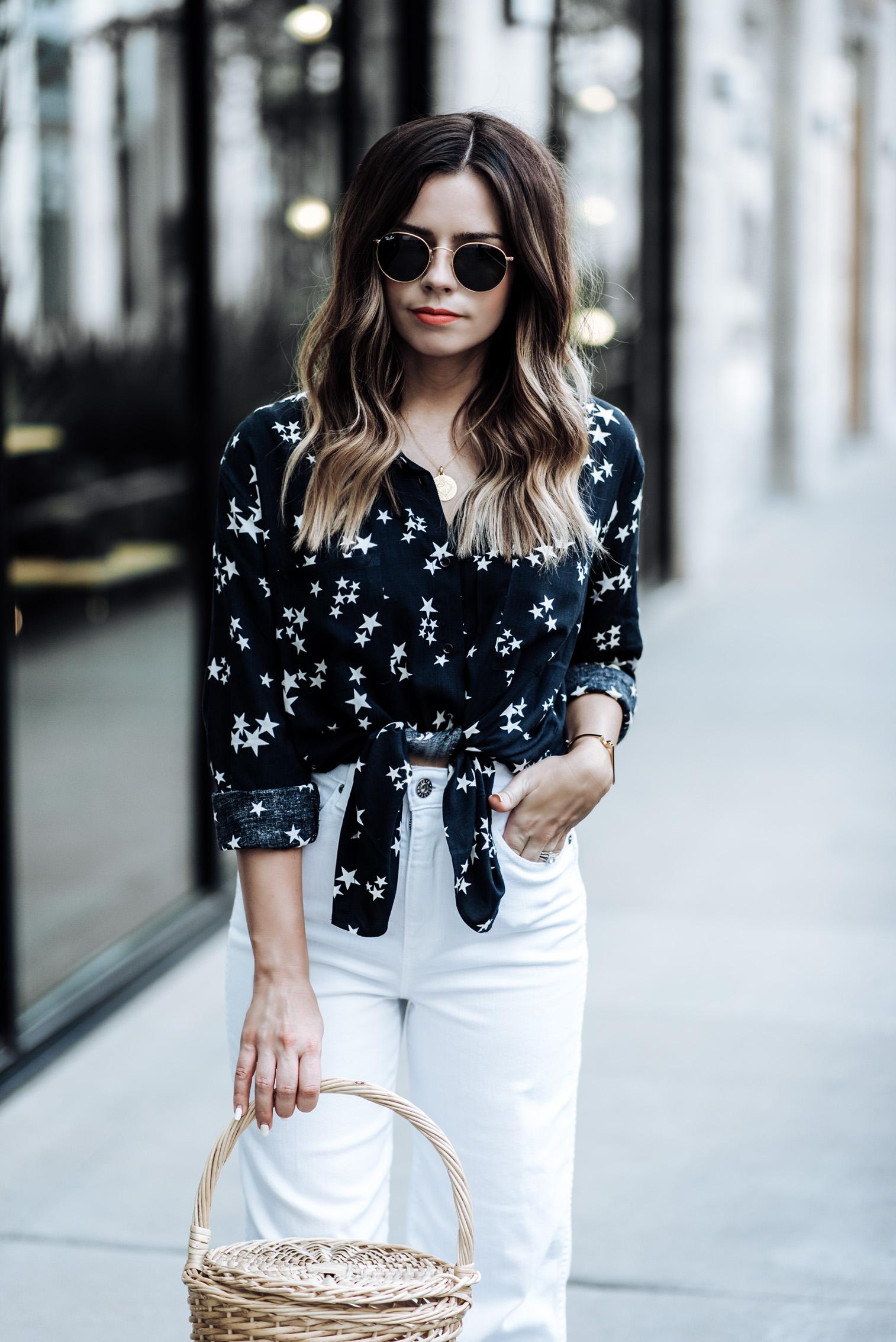 Houston fashion and lifestyle blogger Tiffany Jais | {C/O} The Yvette wide leg pant by AGJeans | Straw basket bag | Sincerely Jules Ryder shirt | Mini Marie pendant| Satin bow slides (similar here)