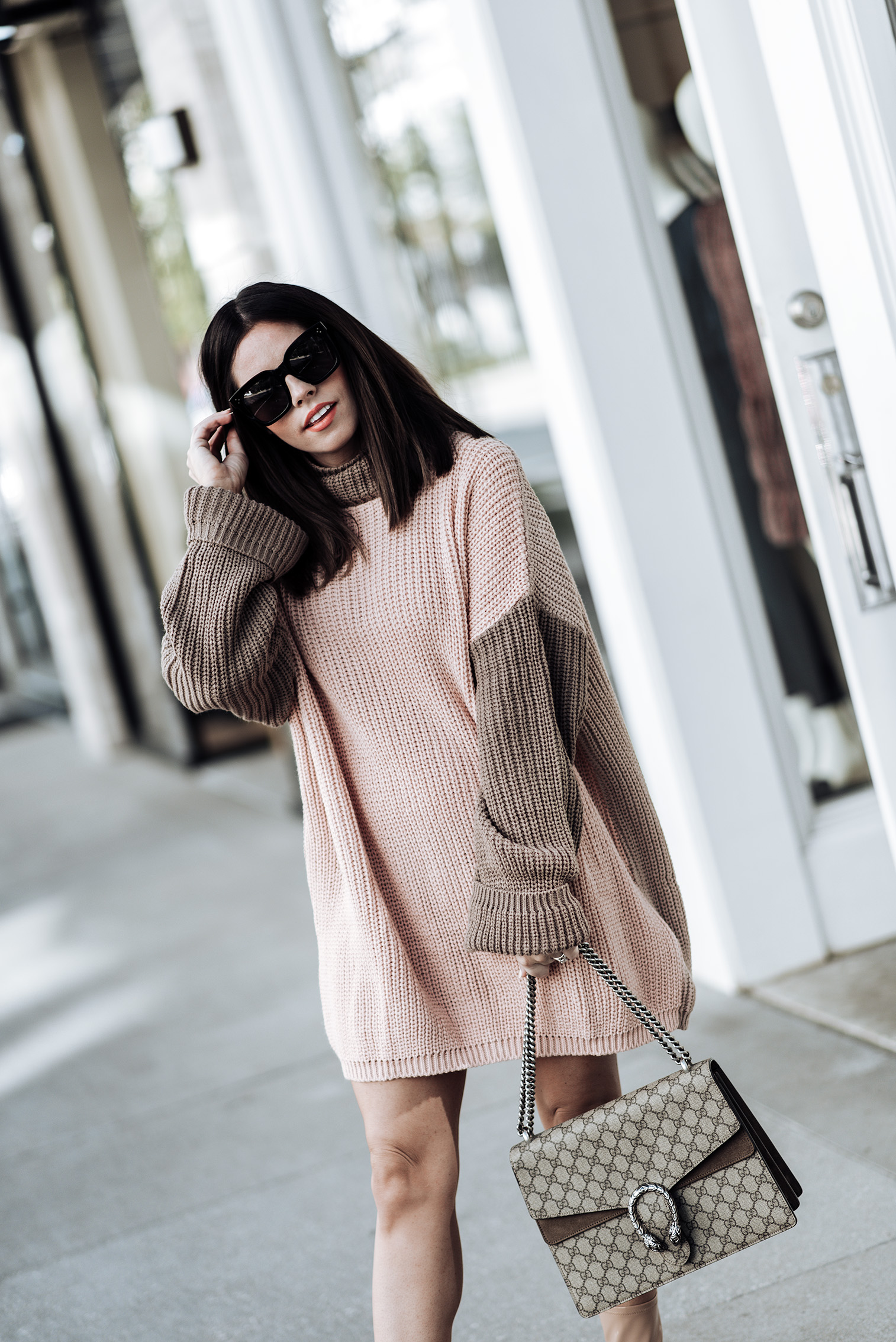 5 chunky knit sweater dresses for under 50 |Chunky knit sweater dress for under $50 (Nasty Gal) | Gucci Dionysus Bag |Tiffany Jais fashion and lifestyle blogger of Flaunt and Center | Houston fashion blogger | Straw handbag Trend | Streetstyle blog | #sweaterdress #streetstyle #ankleboots #guccidionysus