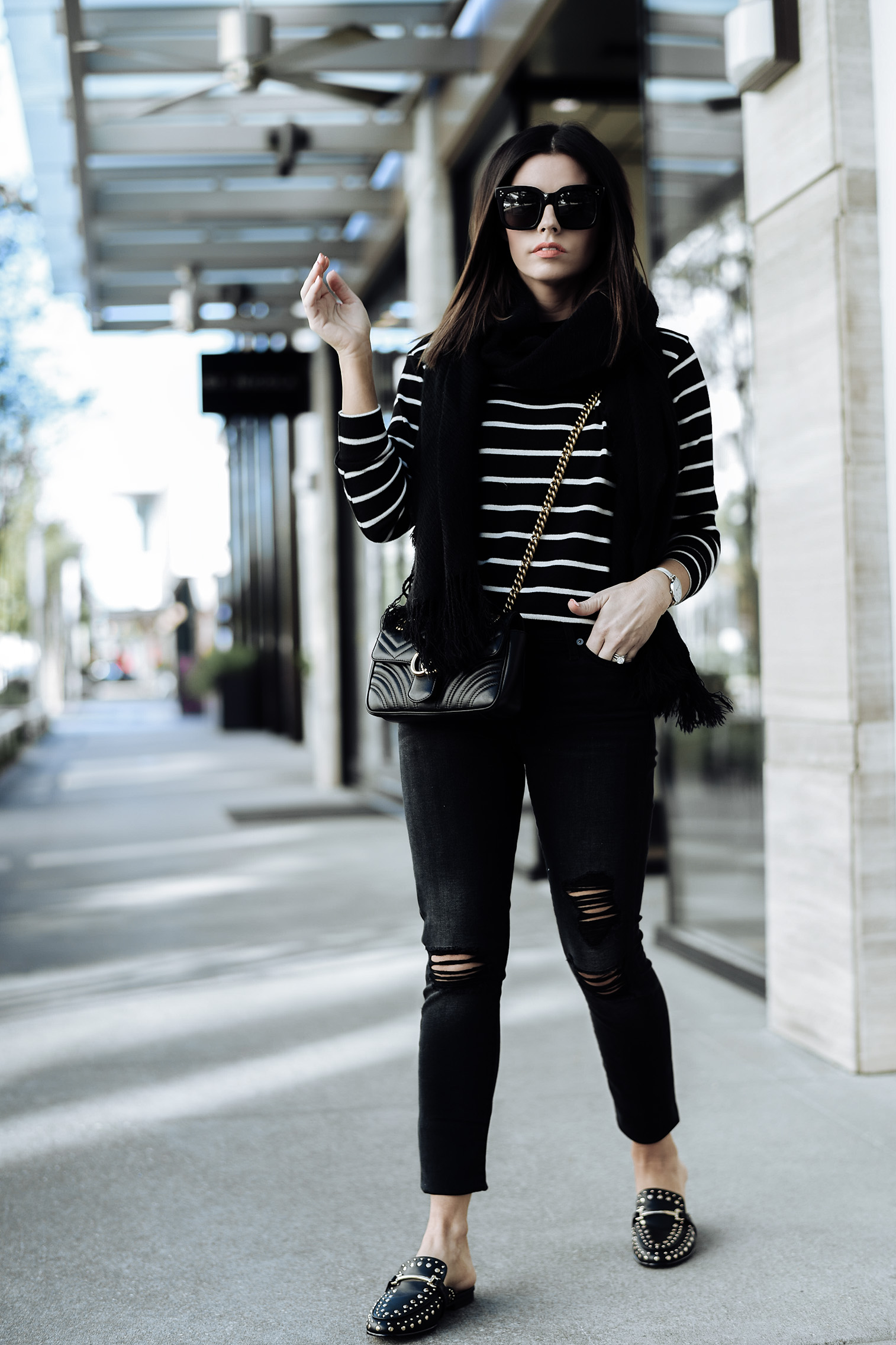 Flats | 7 For All Mankind Ankle Skinny Jeans | Striped sweater| Fringe scarf | Gucci Marmont bag |Tiffany Jais fashion and lifestyle blogger of Flaunt and Center | Houston fashion blogger | Fall denim with Zappos| Streetstyle blog #streetstyle #fashionblog #style # fall style #slides