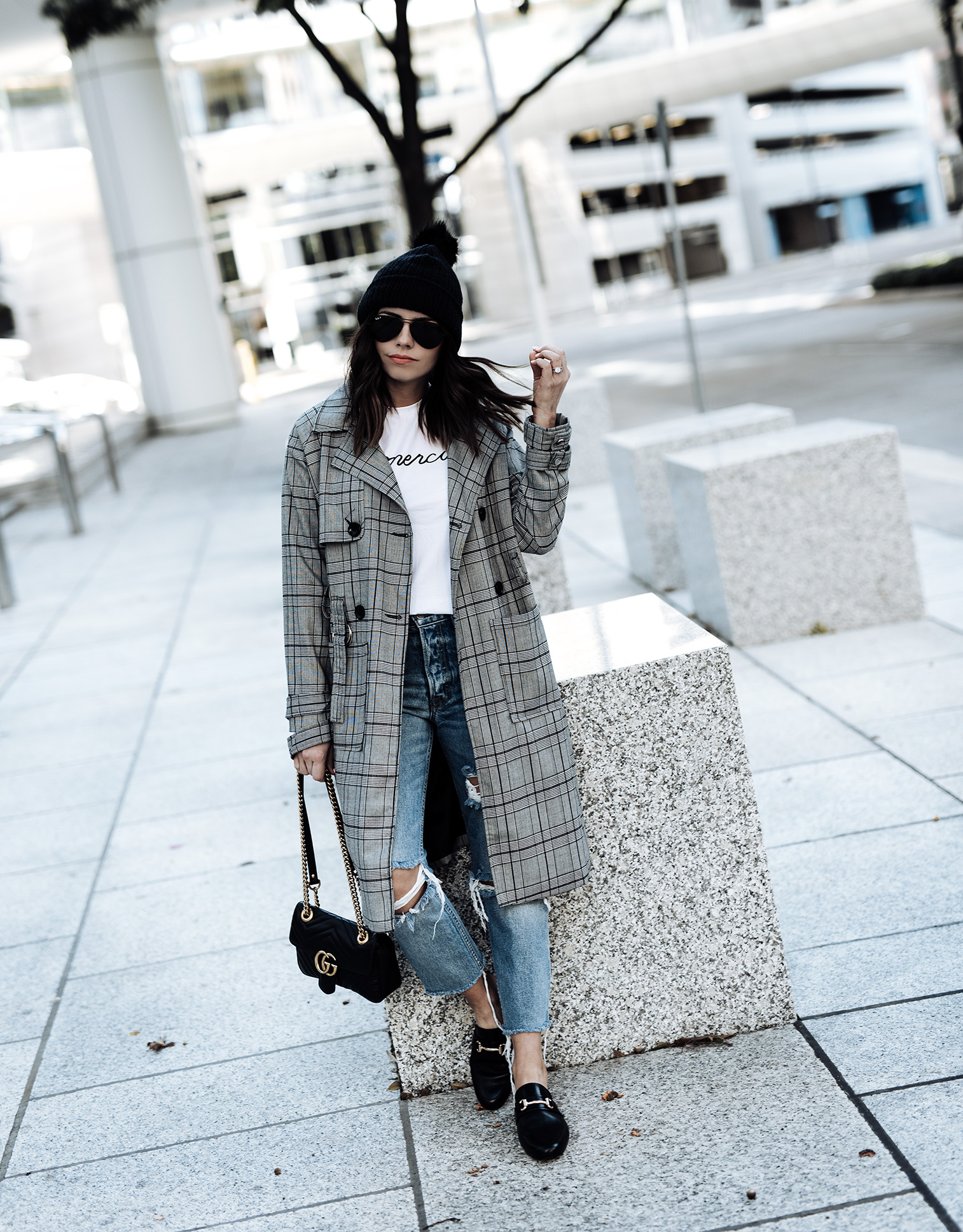 Grey Prince of Wales Checked Coat | GRLFRND X Revolve Denim | Steve Madden Kandi Mules | Merci T-shirt | Gucci Marmont Tiffany Jais fashion and lifestyle blogger of Flaunt and Center | Houston fashion blogger | Streetstyle blog | Personal style online | 3 check print pieces for under $100 | Grey Prince of Wales Checked Coat | GRLFRND X Revolve Denim | Steve Madden Kandi Mules | Merci T-shirt | Gucci Marmont #falloutfits #beanieoutfits #fallfashion2017 #streetstyle