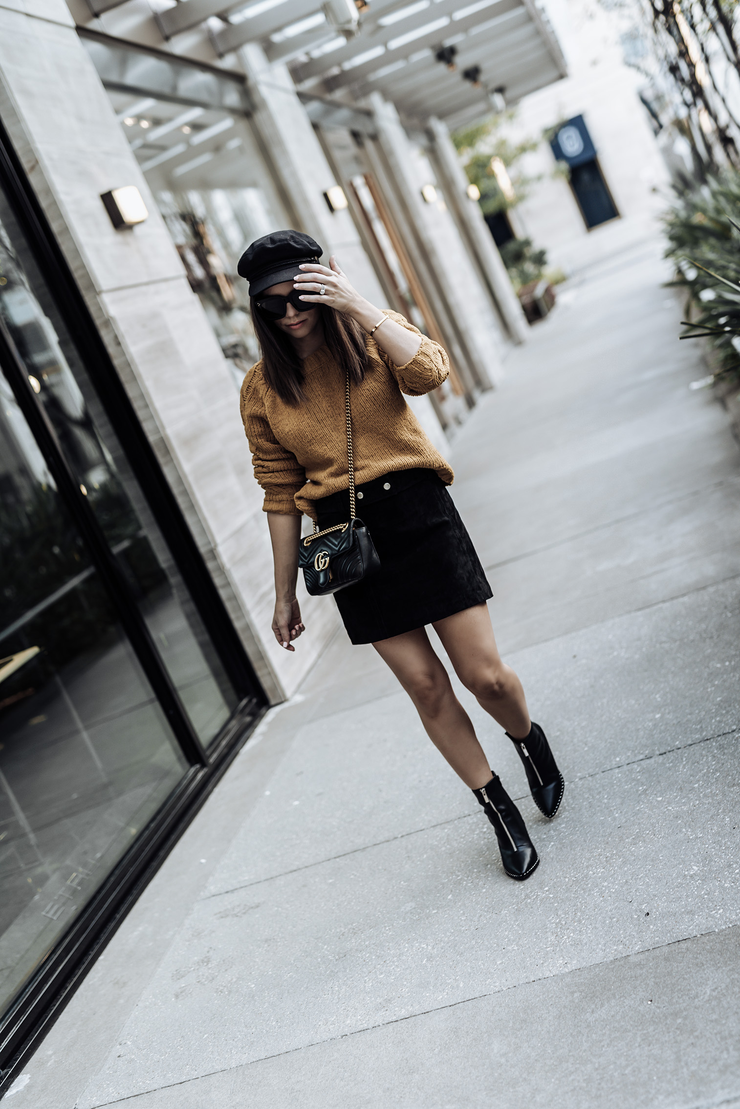   Fall uniform  ASOS only cable knit sweater   ASOS Ellison zip booties   Suede mini skirt (ZARA, similar here)   Streetstyle blog   Paperboy hat   #falloutfits2017 #paperboyhat #sweateroutfits #streetstyle