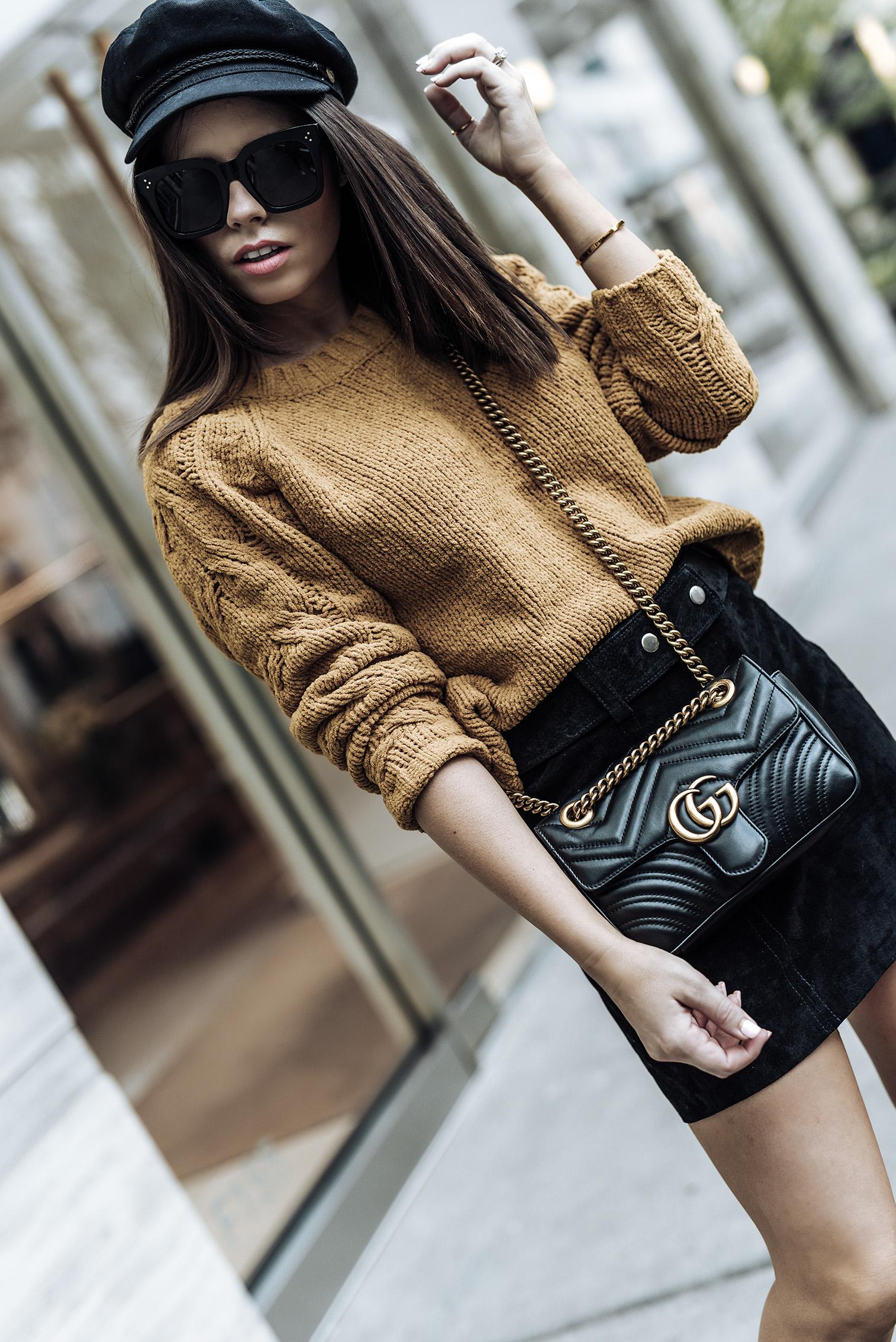 | Fall uniform |ASOS only cable knit sweater | Brixton Fiddler hat| ASOS Ellison zip booties | Suede mini skirt (ZARA, similar here) | Streetstyle blog | Paperboy hat | #falloutfits2017 #paperboyhat #sweateroutfits #streetstyle