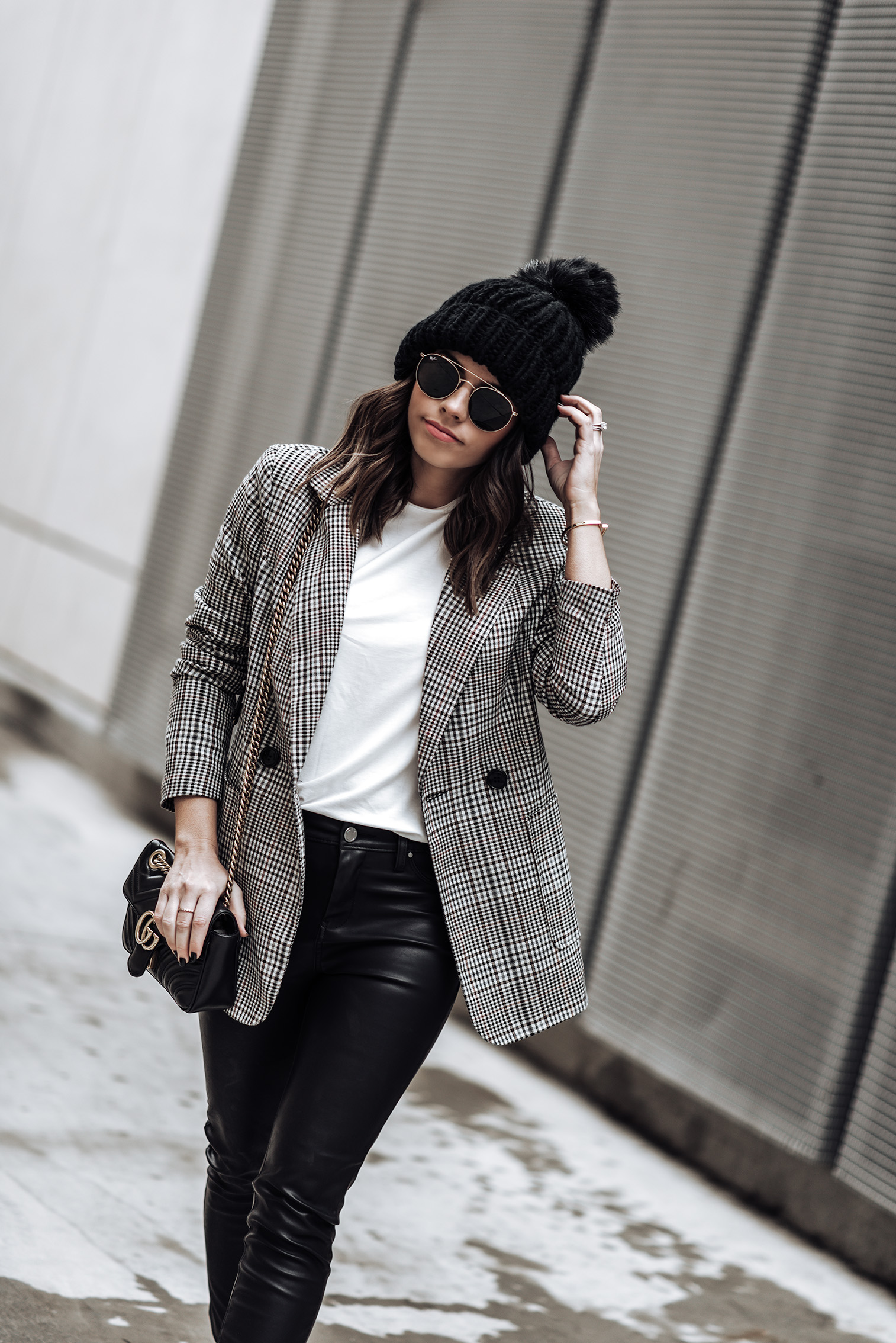 Tiffany Jais fashion and lifestyle blogger of Flaunt and Center | Houston fashion blogger | Checked print blazer | Streetstyle blog |Checked Blazer | Mid Rise Vegan Leather Skinny Jeans | Golden Goose Sneakers | Beanie | Sunglasses | #streetstyle checked blazer #beanieoutfits #falloutfitideas