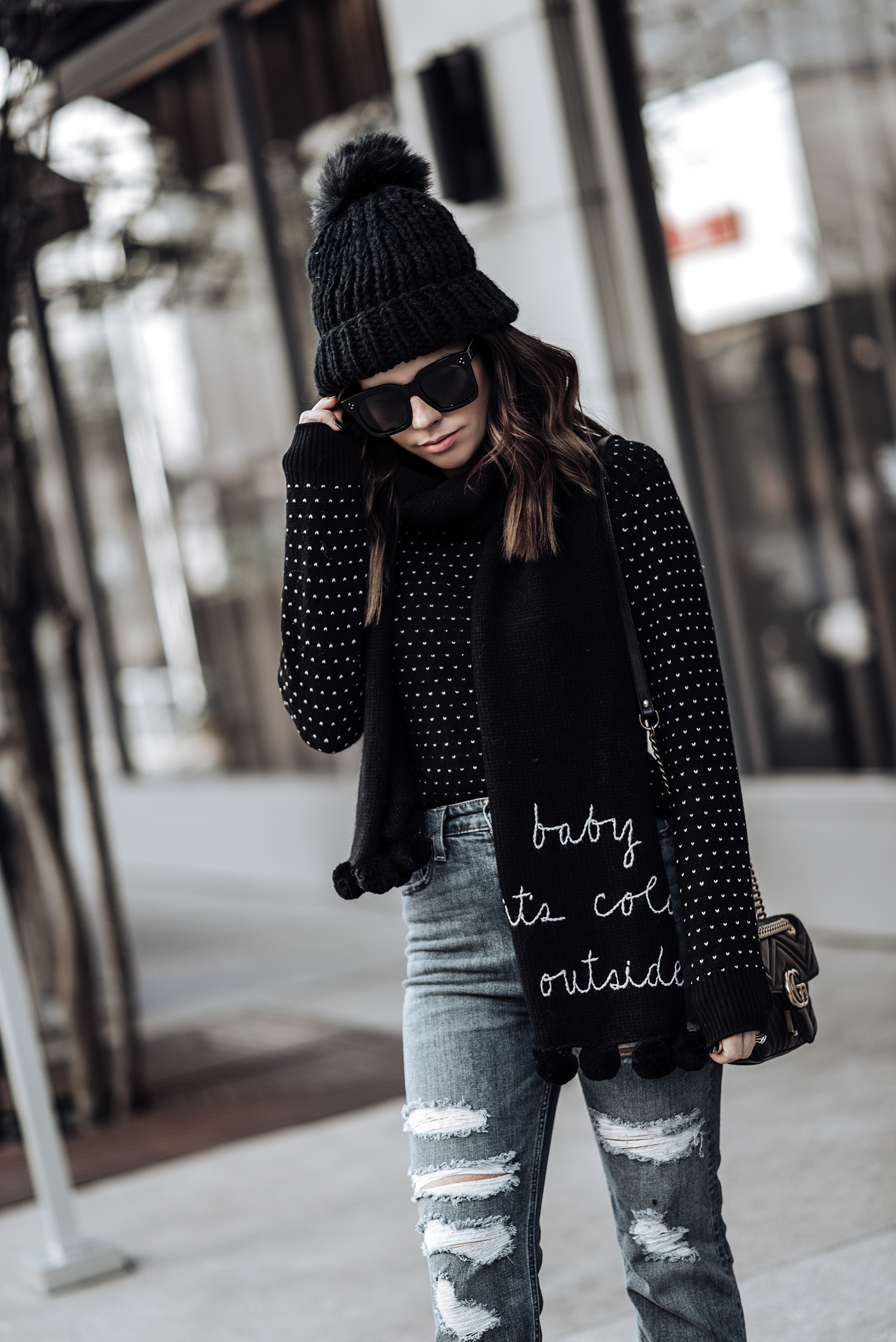 Tiffany Jais fashion and lifestyle blogger of Flaunt and Center | Houston fashion blogger | Holiday feels | Streetstyle blog |Happy Trails Beanie | Celine Tilda Sunglasses | ASOS metallic ankle boots {C/O} | Baby it's cold outside scarf | High rise ankle straight jeans | street style outfits |