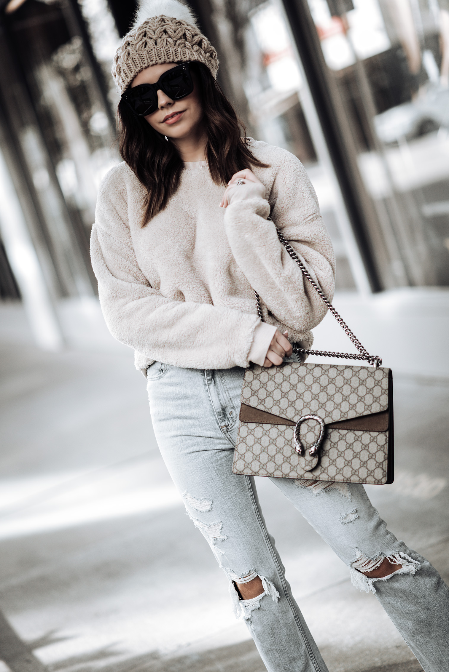 Fuzzy crewneck Sweatshirt   High Rise Ankle Strait Jeans   Kinzey Ankle Boots   Beanie (similar)   Large Gucci Dionysus Bag   Celine Glasses   #falloutfits #beanieoutfits #guccibagoutfits #casualoutfitideas Cozy outfits
